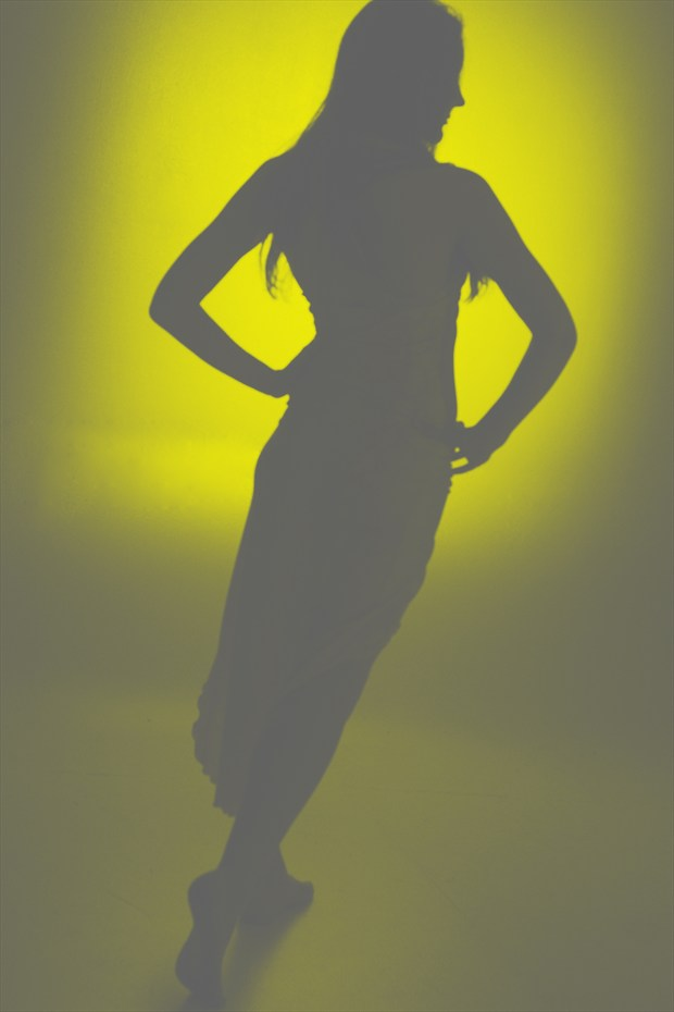Silhouette in Yellows and Grays with Mantha Belle Surreal Photo print by Photographer Mark Bigelow