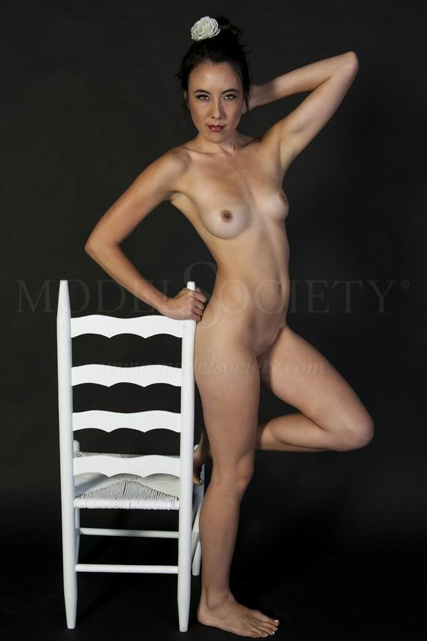 Standing   White flower Artistic Nude Photo print by Photographer Tommy 2's