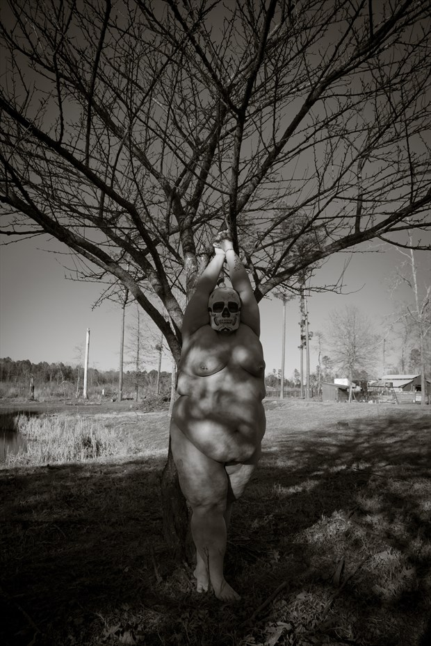 Standing under a tree Artistic Nude Photo print by Photographer Frisson Art