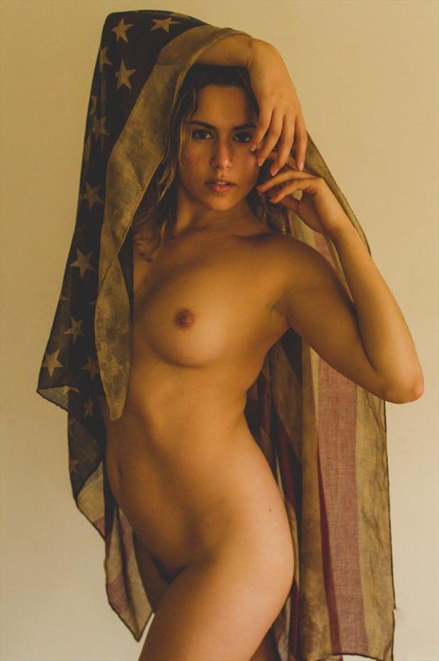 Star Spangled Woman Artistic Nude Photo print by Model Reece de la Tierra
