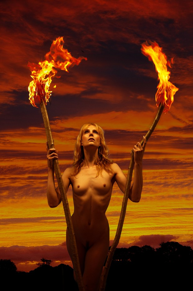 Torches Artistic Nude Photo print by Photographer Ray Kirby