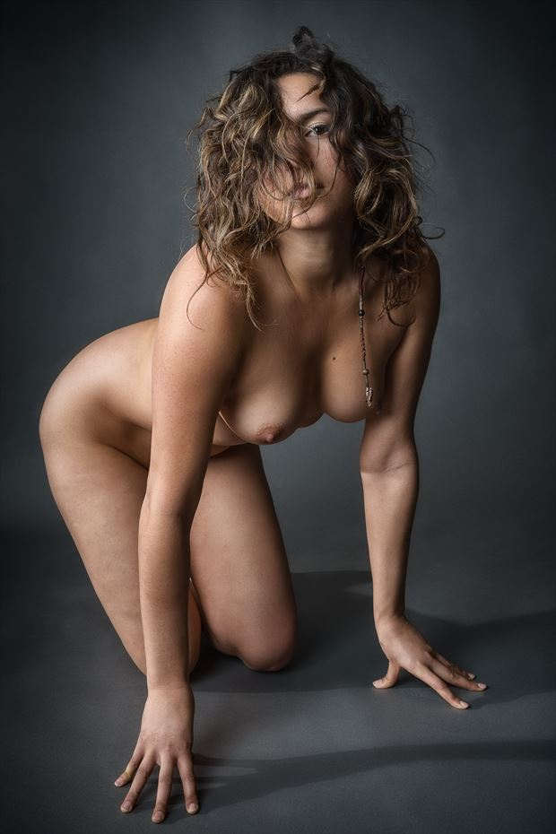 Wait... Let Me Get This Hair Off My Face Artistic Nude Photo print by Photographer rick jolson
