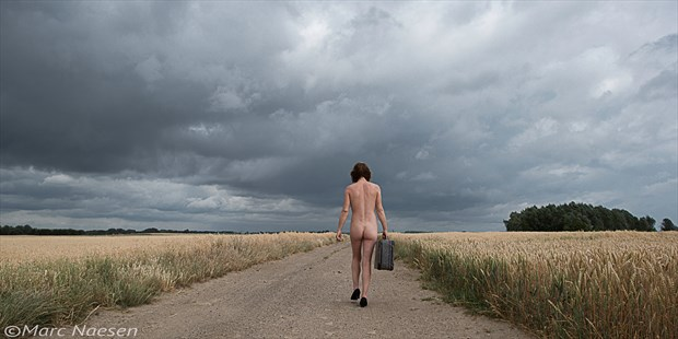 Walking on a lonely road Artistic Nude Photo print by Photographer Marc Naesen