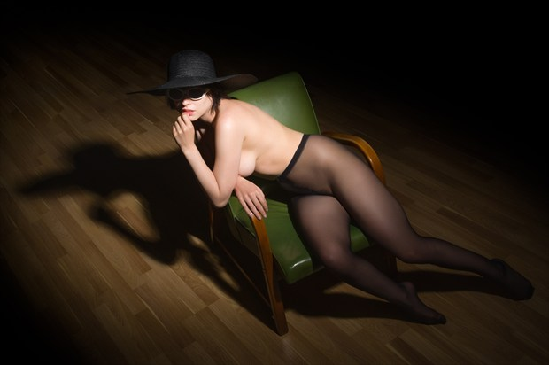 Woman in a green chair %231 Artistic Nude Photo print by Photographer Bruce M Walker