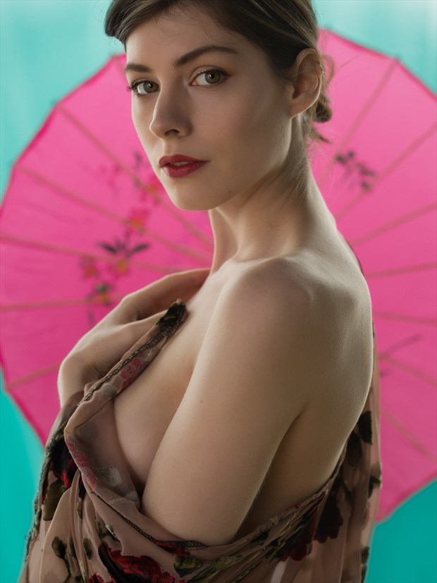 Woman in kimono with parasol %232 Implied Nude Photo print by Photographer Bruce M Walker