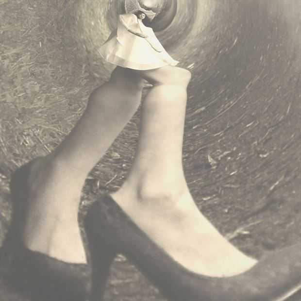 alice up the rabbit hole surreal artwork print by photographer photorunner