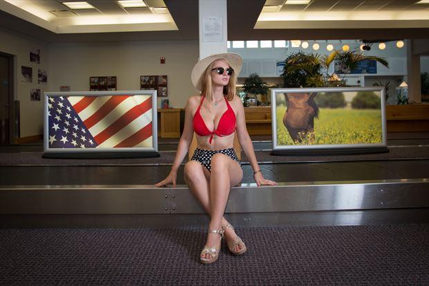 american pie at the airport bikini photo print by photographer michael grace martin