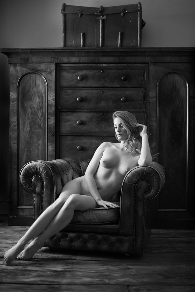 artemis in the chair artistic nude photo print by photographer colin dixon