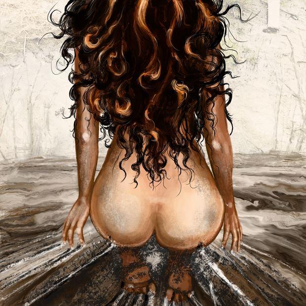 artistic nude figure study artwork print by artist nick kozis