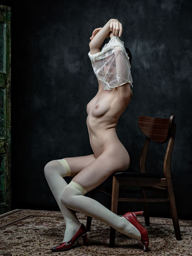 artistic nude lingerie photo print by photographer nine80photos