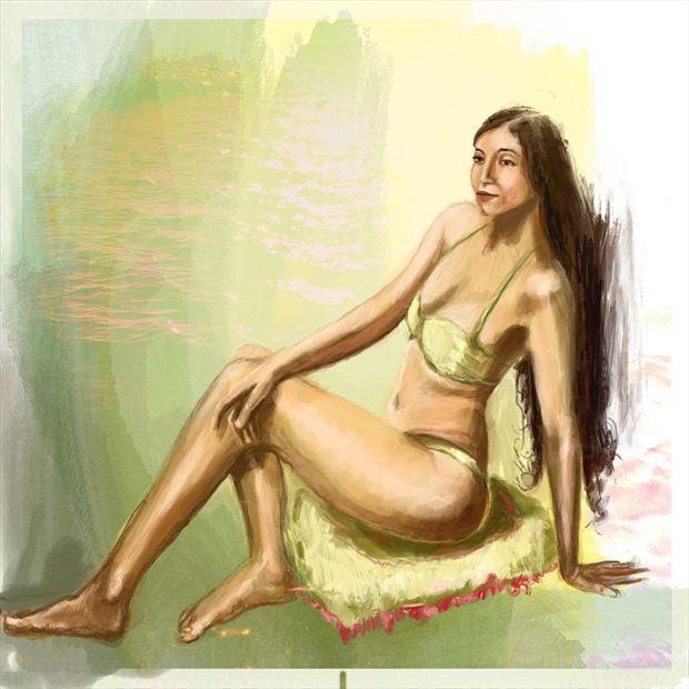 aurora 1 bikini artwork print by artist nick kozis