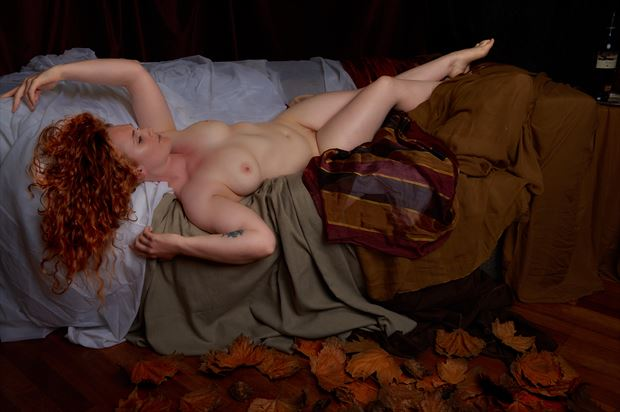 autumn leaves artistic nude photo print by photographer tfa photography