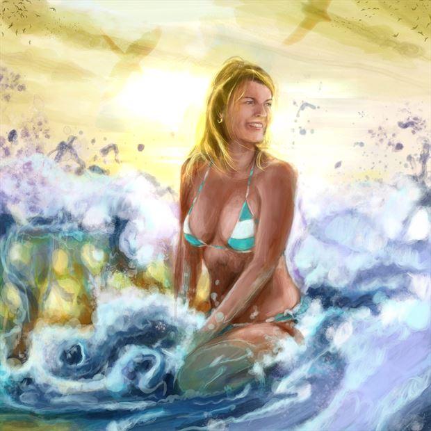 bellina 10 bikini artwork print by artist nick kozis