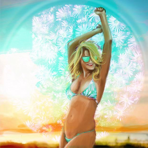 bellina 2 bikini artwork print by artist nick kozis