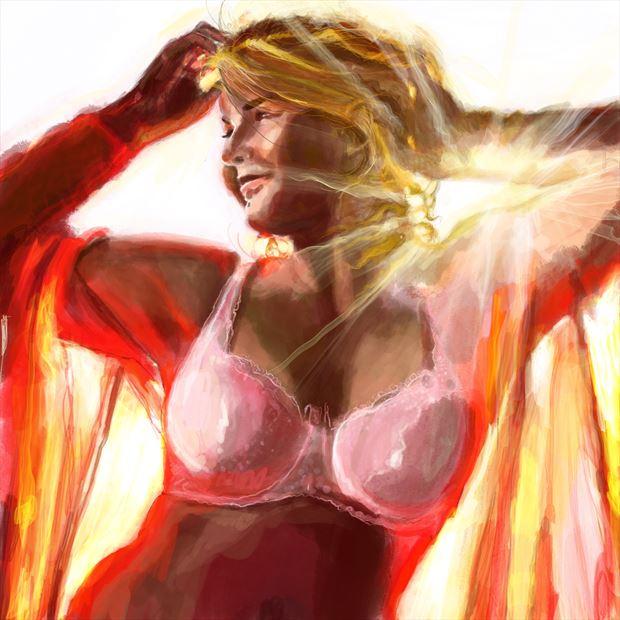 bellina 5 bikini artwork print by artist nick kozis