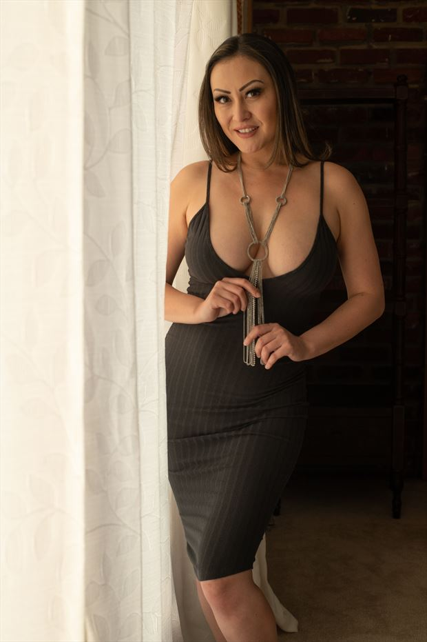 black dress and necklace sensual photo print by photographer gsphotoguy