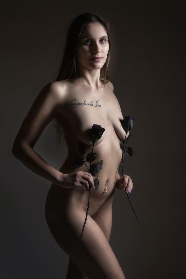 black roses artistic nude photo print by photographer ken greenhorn