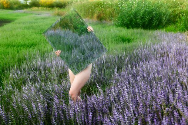blue reflection artistic nude photo print by photographer joe klune fine art