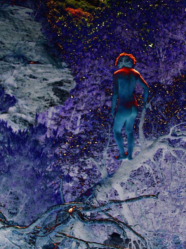 blue word artistic nude photo print by photographer joseph auquier