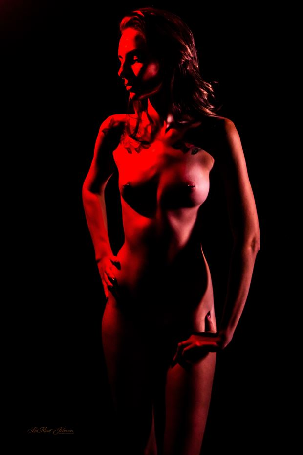 brittany painted red 1 artistic nude photo print by photographer lamont s art works