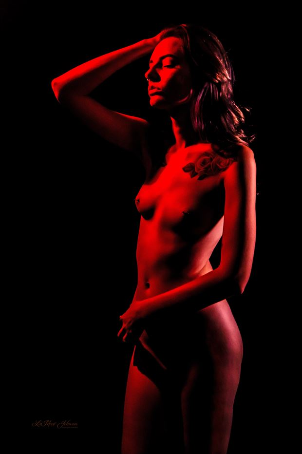 brittany painted red 2 artistic nude photo print by photographer lamont s art works