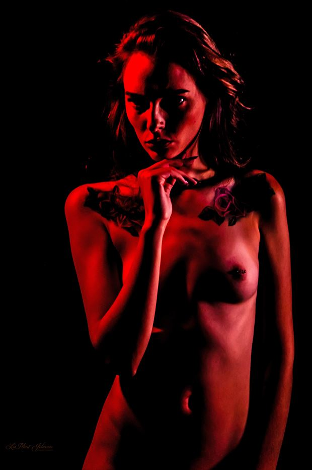 brittany painted red 3 artistic nude photo print by photographer lamont s art works
