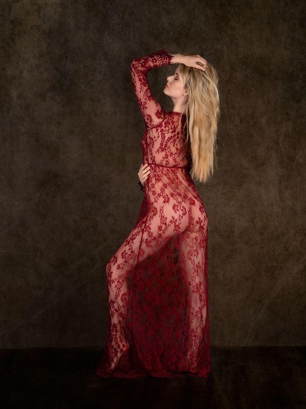 carla in shear dress lingerie photo print by photographer colin dixon