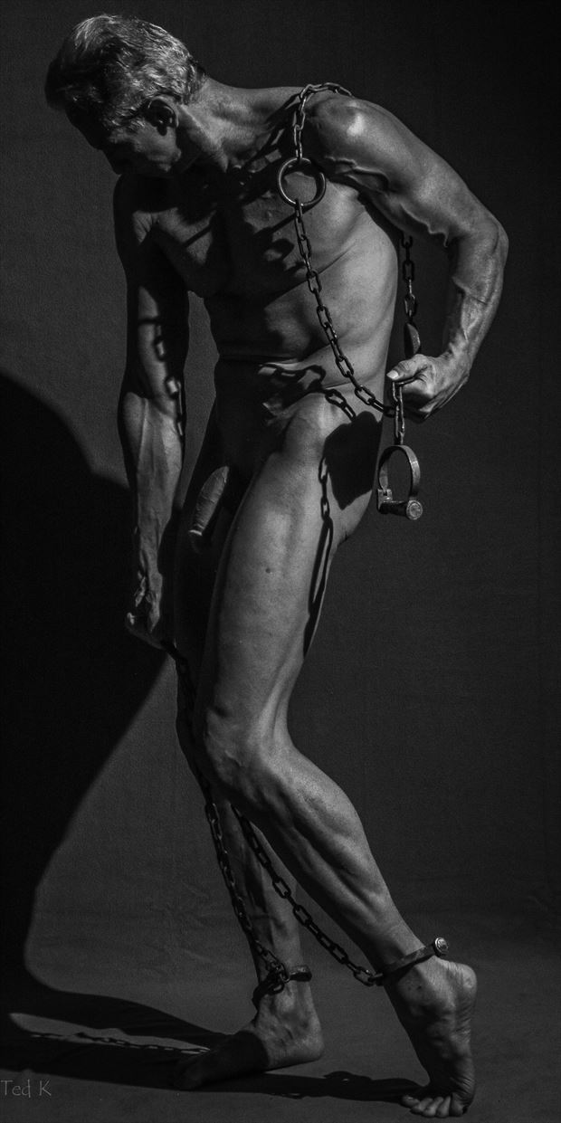 chained artistic nude photo print by model artfitnessmodel
