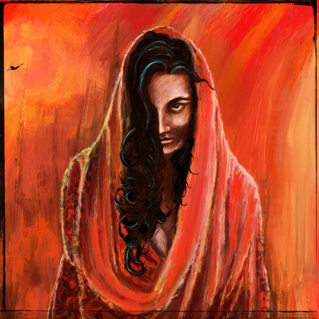 chiaroscuro study in red chiaroscuro artwork print by artist nick kozis
