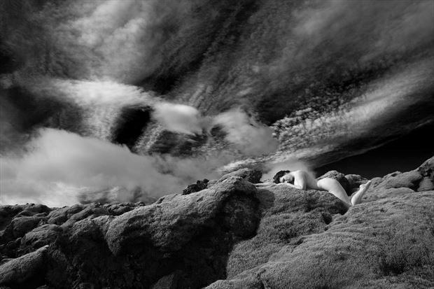 clouds and lava artistic nude photo print by photographer louis sauter