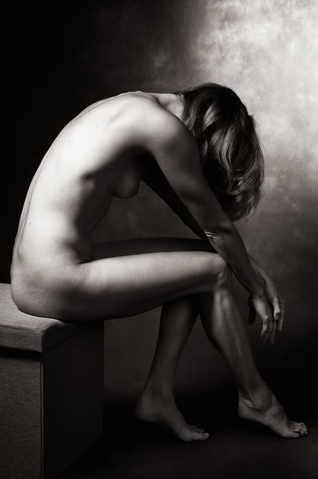 collasped artistic nude photo print by model alexandra queen
