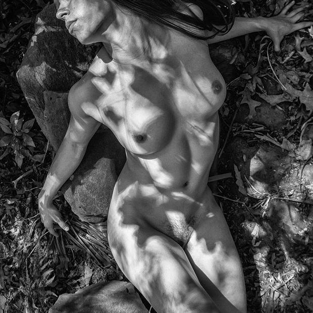dappled mono artistic nude photo print by photographer rick jolson