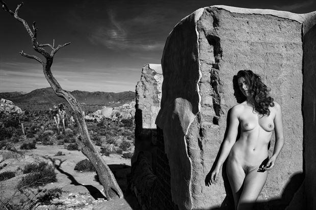 desert adobe ruins artistic nude photo print by photographer philip turner