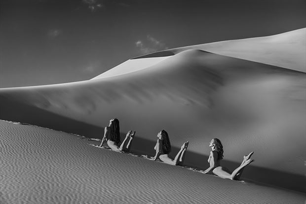 desert dune dance artistic nude photo print by photographer philip turner