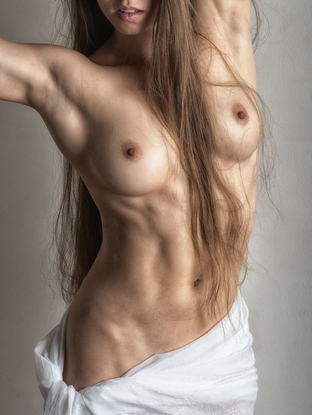 draped torso artistic nude photo print by photographer rick jolson