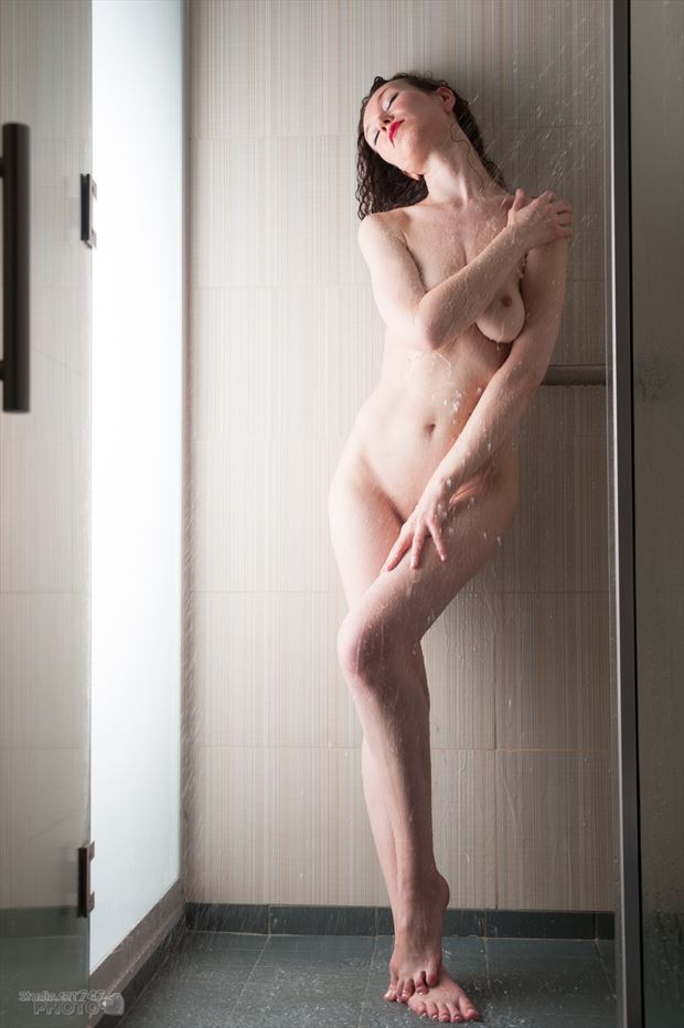 felicia erotic shower artistic nude artwork print by photographer studio747