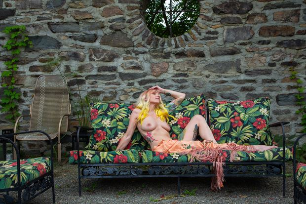 floral lounge artistic nude photo print by photographer michael grace martin