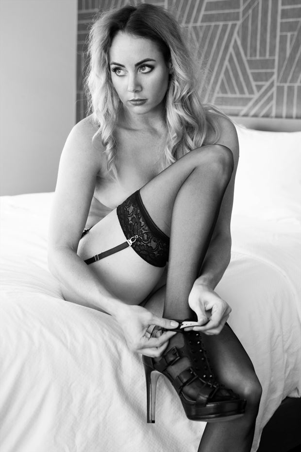 getting dressed artistic nude photo print by model alexandra queen