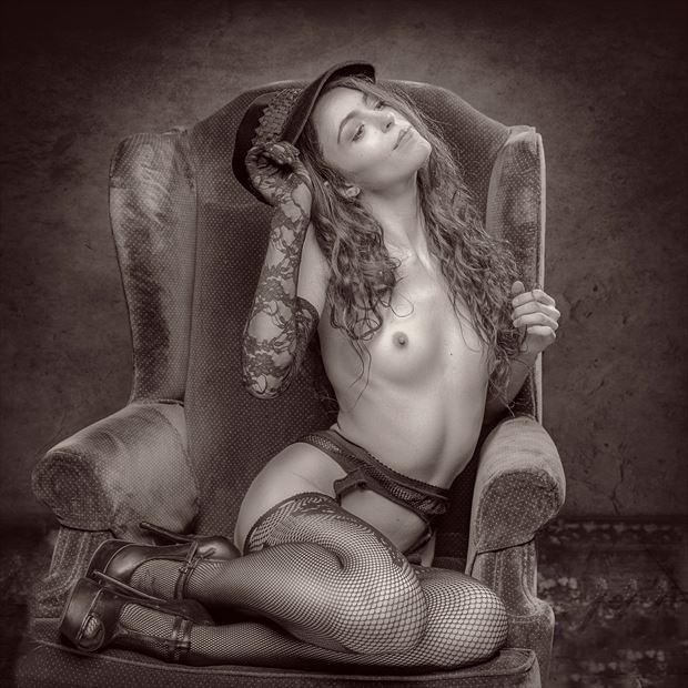 girl in a chair artistic nude artwork print by photographer photorp