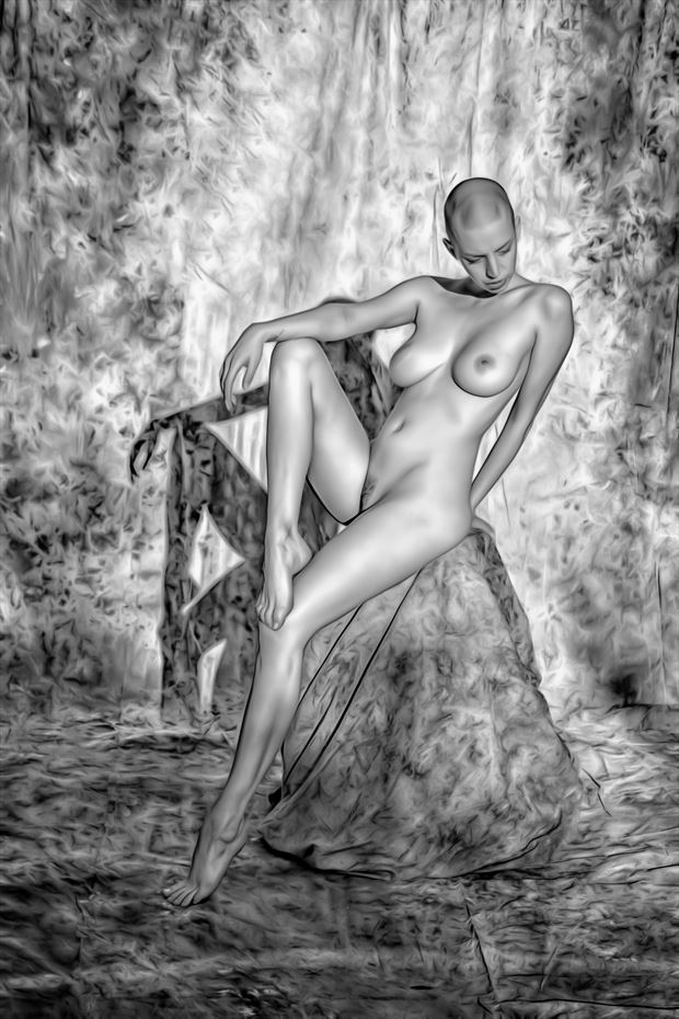 goddess in the setting sun artistic nude photo print by photographer philip turner