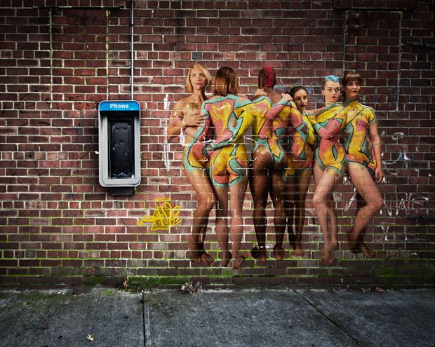 graffiti on the wall body painting photo print by photographer doclist