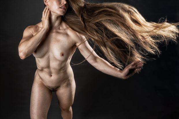 hair flip series 1 artistic nude photo print by photographer rick jolson