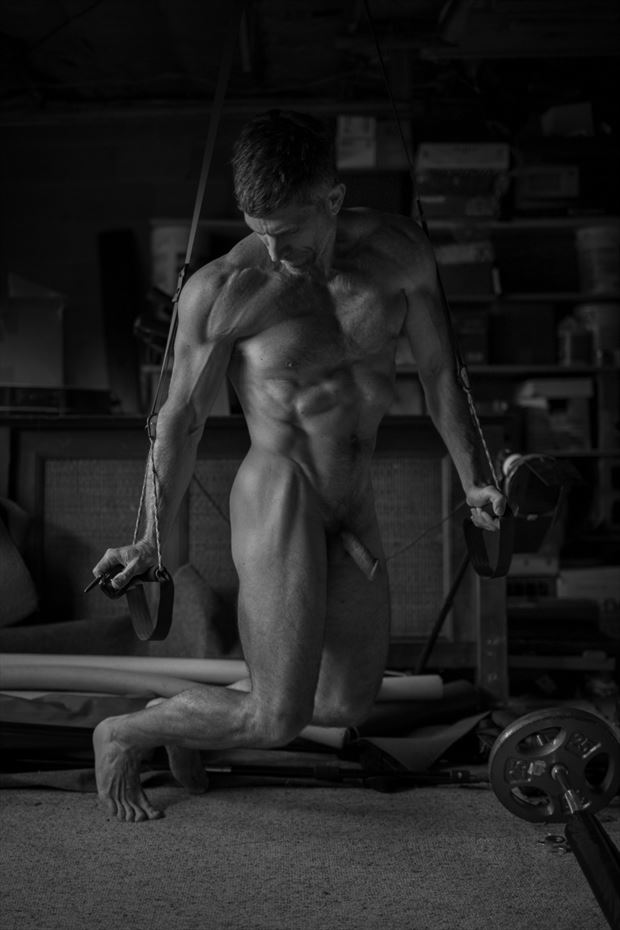 home workout artistic nude photo print by photographer michael grace martin