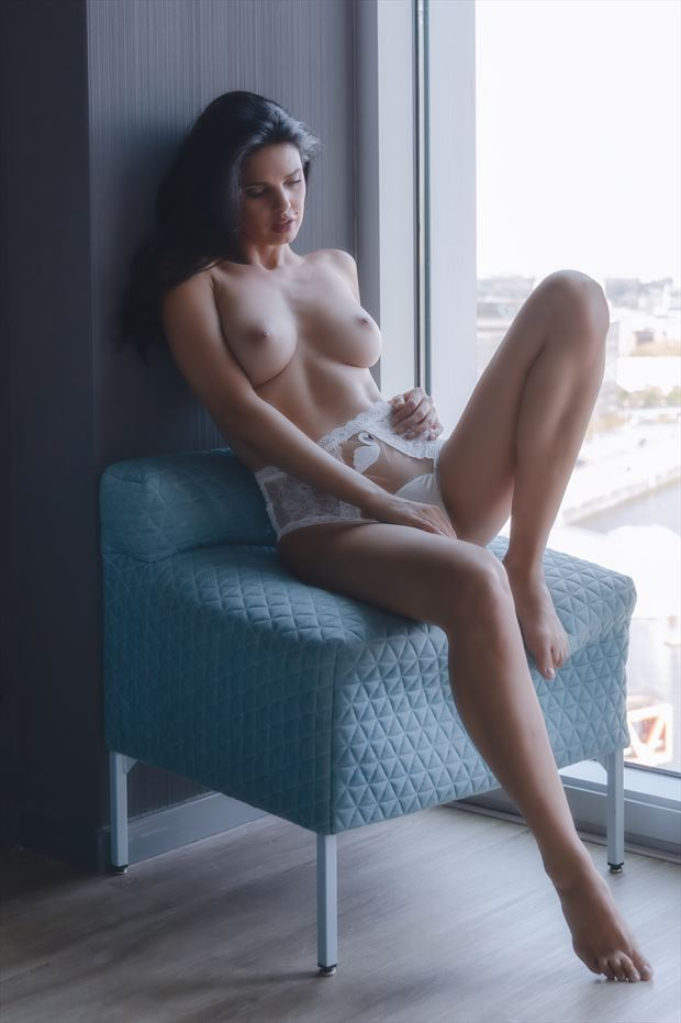 in the window artistic nude photo print by photographer colin dixon