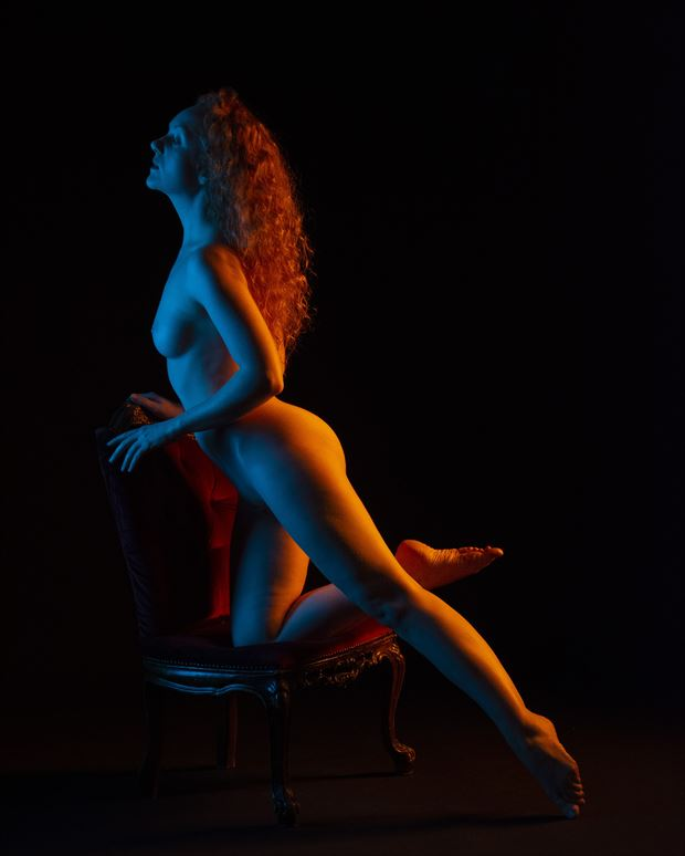 ivory flame on a chair artistic nude artwork print by photographer clicker 22
