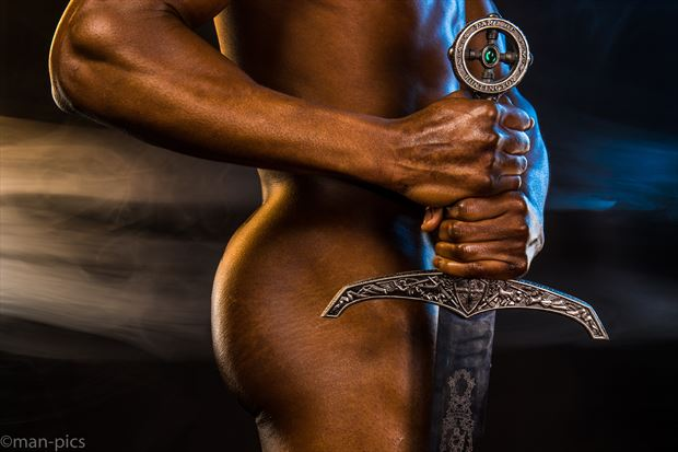 jay with sword artistic nude photo print by photographer jbdi