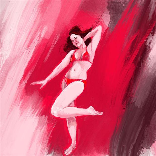 jen in red 2 bikini artwork print by artist nick kozis