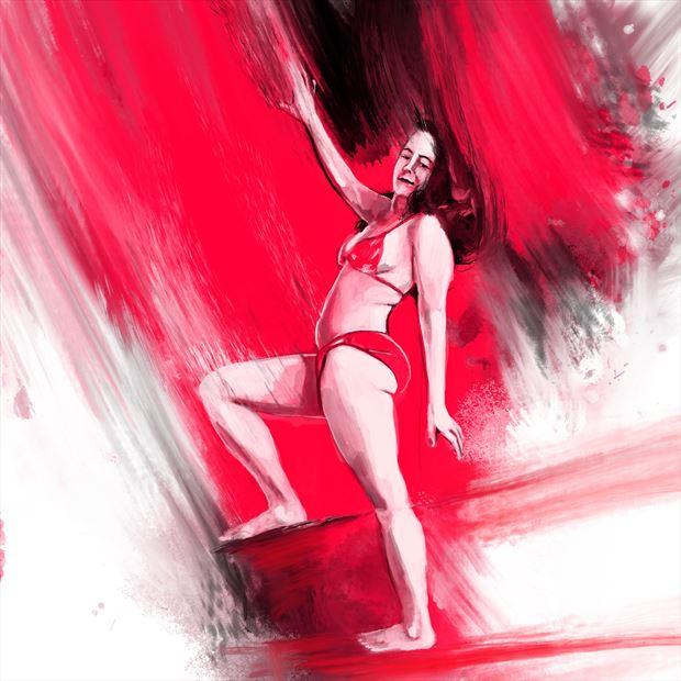 jen in red 4 bikini artwork print by artist nick kozis