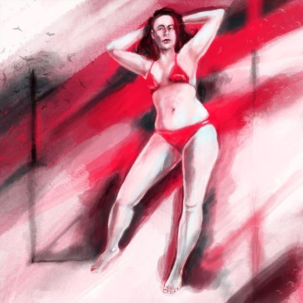 jen in red 6 bikini artwork print by artist nick kozis