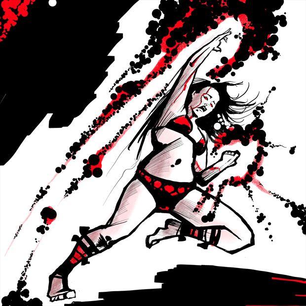jen in red 7 vintage style artwork print by artist nick kozis
